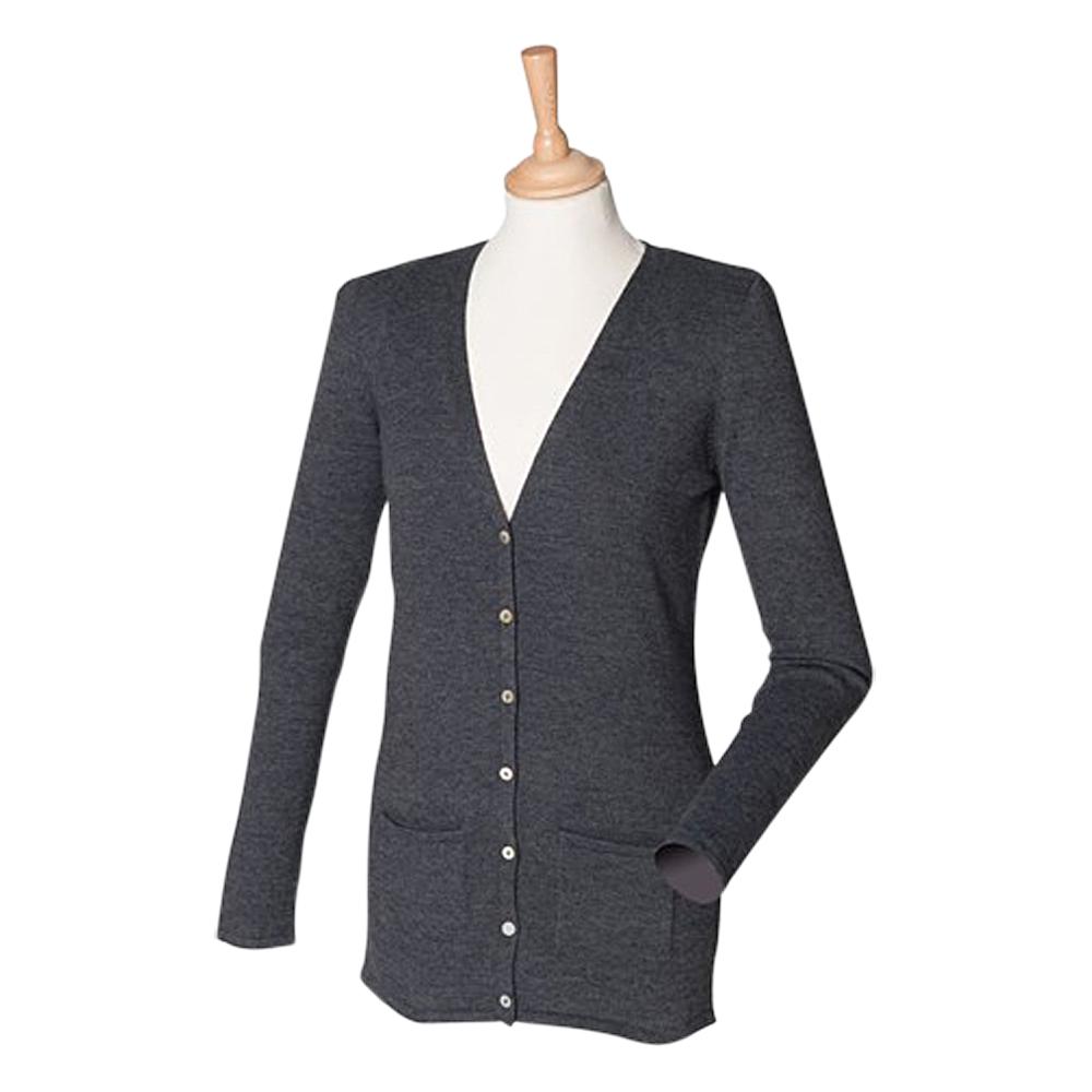 Ladies Henbury V Neck Button Cardigan