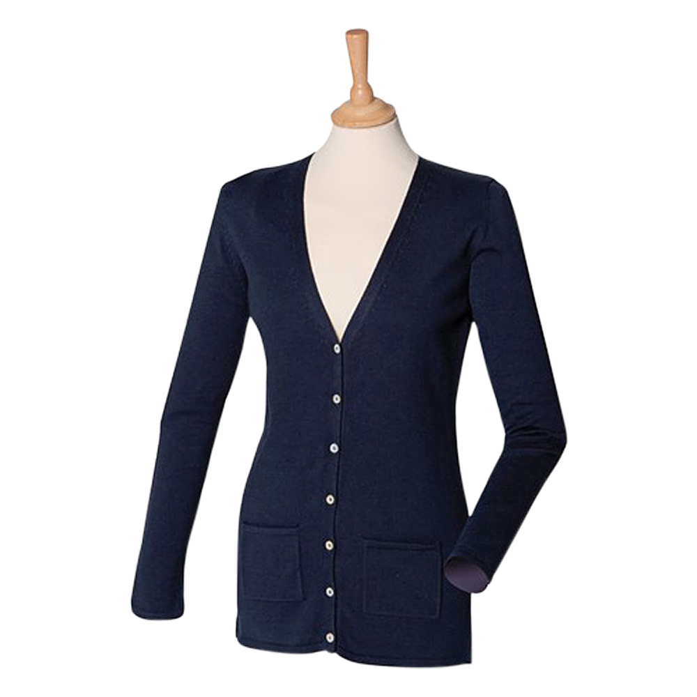 Ladies Henbury V Neck Button Cardigan